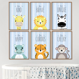 $enCountryForm.capitalKeyWord Australia - Lion Tiger Zebra Hippo Nursery Wall Art Canvas Painting Cartoon Nordic Posters And Prints Wall Pictures Girl Boy Kids Room Decor
