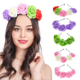 lady head flowers 2019 - Boho Ladies Girls Floral Flower Festival Wedding Garland Hair Head Band Beach Party Color Bridal Headwear FG51 cheap lad