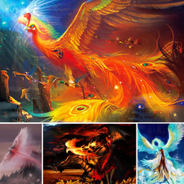 Phoenix Paintings Australia - Cartoon Diamond Painting Phoenix Fire Full drill 5d Diy Diamant Painting Scenery Diamond Embroidery Animal Home Decor Gift X42