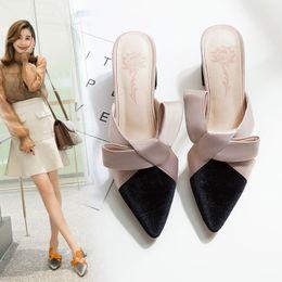 $enCountryForm.capitalKeyWord Australia - 2019 Sandals And Slippers Female Midsole Block Heel Baotou Pointed Velvet High Heels Shoes Muller Shoes Slippers