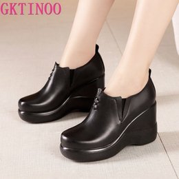 wedged shoes for winter NZ - GKTINOO Wedges Shoes for Women 2020 Autumn Winter Platform Pumps Woman High Heels Leather Office Shoes Ladies Plus Size 33-43