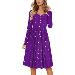 $enCountryForm.capitalKeyWord UK - 2019 Spring Fashion Sexy Women Dot O Neck Button Dress Long Sleeve Pocket Casual Beach Long Knee Length Dress For Female #30