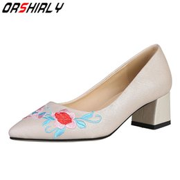 Wholesale Orshirly Genuine Leather ladies pumps square heel pointed toe slip on handmade casual comfortable classic for women hot sale