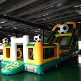 inflatable new game Australia - new arrival PVC inflatable slide with obstacle inflatable bounce slide combo inflatable trampoline for kids outdoor game and entertainment