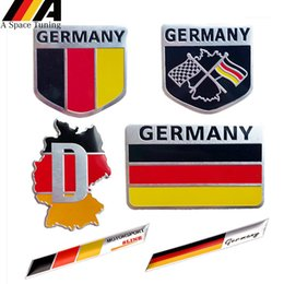 Badge flag online shopping - 3D Metal Germany German National Flag Badge Car Front Grill Grille Emblem Sticker Racing Sports Decal for VW Sline