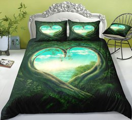 printed bedding set heart Australia - Heart Tree Hole Lively Bedding Set King Mysterious 3D Printed Duvet Cover Queen Home Textile Double Single Bed Set With Pillowcase 3pcs
