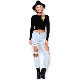 White Ripped Jeans Australia - 2017 Stylish Women Plus Size Vintage Holes Ripped Jeans Blue Black White Trousers Female Retro Denims Europe Pencil Pants