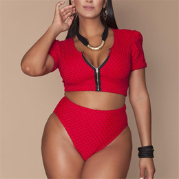 ae0052160d2f2 XL-4XL Plus Size Bikini Set Pad Zipper Front Swimsuit Large Swimwear 2019  High Waist Monokini Female Short Sleeve Bathing Suit