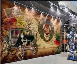 classic car painting Canada - 3d wallpaper custom photo European oil painting vintage car lion head living room home decor 3d wall murals wallpaper for walls 3 d