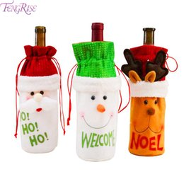 wine christmas ornament Australia - FENGRISE Christmas Wine Bottle Cover Drinking Bottle Bags Santa Claus Christmas Decoration Xmas Pendant Drop Ornaments New Year
