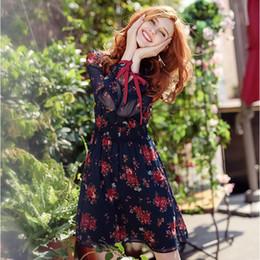 $enCountryForm.capitalKeyWord NZ - Autumn Women Vintage Dress Long Sleeves Elegant Floral Print Dress Turn-down Neck Chiffon Dress High Quality Dating Essentials Y190425
