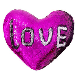 hearts bedding UK - 2019 Valentine Day Mermaid Sequin Pillowcase Loving heart-shaped Pillow Cover Colorful Home Sofa Cushion Bedding Supplies Pillow Case
