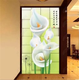 Calla Lily Paintings Australia - 3d Wallpaper 3D Calla Lily Three-Dimensional Porch Background Wall Painting