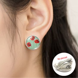 $enCountryForm.capitalKeyWord Australia - 2019 Vintage Poppy Flower New Fashion Round No Pierced Earrings Clip Pattern Sweet Summer Accessories for Little Girls Jewelry