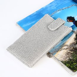 smallest mobiles UK - Cross-border new diamond-encrusted mobile phone bag Women's chain slung small bag Rhinestone evening bag factory direct customizable