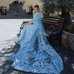 $enCountryForm.capitalKeyWord Australia - New Elegant Muslim Blue Evening Dresses 2020 Appliques Mermaid Formal Prom Gowns Maxi Dress Plus Size with Hat