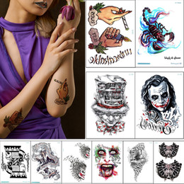 scorpion stickers Canada - Punk Style Waterproof Temporary Body Art Tattoo Sexy Hand Scorpion Dragon Skull Poker Decal Design Cool Person Tattoo Sticker Transfer Paper
