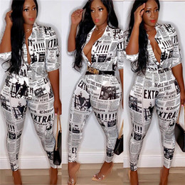 $enCountryForm.capitalKeyWord Australia - Newspaper Print Women Shirt Suit Vintage Designer Tracksuit Ladies Blazer Blouse and Pencil Pants Summer Ins Fashion Matching Suit C71109
