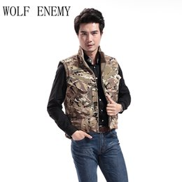 lurker shark skin jacket UK - Tactical Vest Men hunting Style Waistcoat Camouflage Male Soft Shell Lurker Shark Skin Double Side Camo Sleeveless Army Jacket
