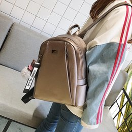 Gold Backpack Style Australia - Fashion Gold Leather Backpack girl Black Vintage Large Bag For Female Teenage Girls School Solid Backpacks XA56H
