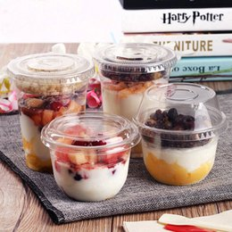 $enCountryForm.capitalKeyWord Australia - Disposable Plastic Cup Bowl With Lid Ice Cream Bowl Birthday Party One Time Use Container Dessert Yogurt Drinking Mug Salad Tray SH190715