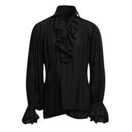 medieval gothic wedding dresses 2019 - Black lim Fit Shrt Men Vintage Wedding Tuxedo Dress Shirts High Quality Men Bandage Medieval Flower Shirt Gothic Man Blo