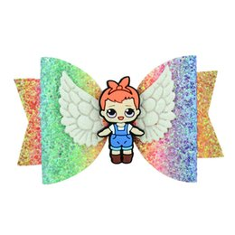 Baby Sequin Hair Clips Wholesale UK - New Cartoon hair bows girls hair clips glisten angel's wings sequin kids Barrettes princess baby BB clipshair accessories for girls A5639