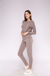 Wholesale pants russia for sale - Group buy Beaded knit sweater suits Russia movement burst models of cross border supply of foreign trade knitted sweater knitted wool trouser suits