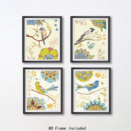 Canvas Art Prints Birds Australia - Vintage Style Bird and Colorful Flower Wall Art On Canvas Painting,Natural Branch Art Picture Prints(Set of 4)