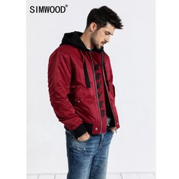 Discount simwood clothing - SIMWOOD 2019 autumn Bomber Jacket Men Plus Size Outerwear Embroidery Windbreaker Casual Coats Slim fit Brand Clothing 18
