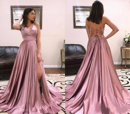 holiday evening gowns floor length Australia - 2020 Sexy Backless Prom Dresses A Line Satin Floor Length Pageant Holidays Graduation Wear Formal Evening Party Gowns Plus Size