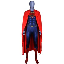 costume superman Australia - Latex Superman Jumpsuit Costume Adult Men Superhero Party Fancy Bodysuit Dress Halloween Carnival Super Hero Cosplay OutfitsMX190921