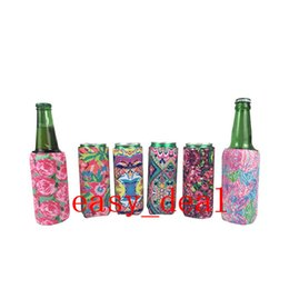 Wholesale Floral Printing Inspirited Neoprene Slim Beer Can Cooler Foldable Tall Stubby Holders Bags Fits oz Slim Energy Drink Beer