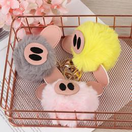 pig holders 2019 - Cute Pig Fur Ball Keychain Keyring Women's Bag Key Support Bag Car Key Holder Fluffy Pendant Keychain discount pig