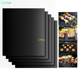 bbq heat plate Australia - by dhl or ems 100 pcs BBQ Grill Mats barbecue pad Reusable NON-Stick Surface Hot Plate Mat Baking Easy Clean Grilling