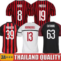 Discount milan kids soccer jersey - 19 20 PIATEK AC milan soccer jerseys PAQUETA SUSO CALDARA CUTRONE football shirt 2019 2020 ROMAGNOL Camisa men women kid