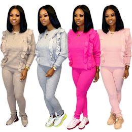 Wholesale pink ruffle sweater resale online – Women sweater piece set ruffle fall winter clothing tracksuit t shirt pants sportswear hoodies leggings outfits pullover bodysuits