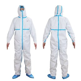 one size clothes Australia - Direct Selling White Hooded Protective Clothing Safe Disposable Isolation Gowns Safety Suits For Working Three Layers Non-woven One Size