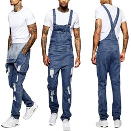 Fitted Denim Jumpsuit Australia - Slim Fit Denim Scratched High Quality Jean Mens Hole Pocket Jeans Overall Jumpsuit Streetwear Overall Suspender Pants S-3XL