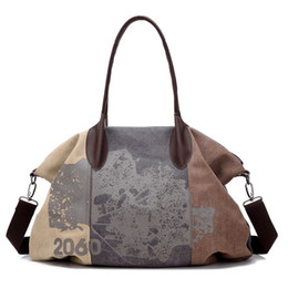 $enCountryForm.capitalKeyWord Canada - Canvas Graffiti Patchwork Shoulder Sports Gym Bag for Women Fitness Letter Printing Handbag Crossbody Bag Travel Duffle #109942