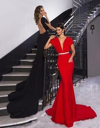 Red Satin Dress Design Australia - 2019 NEW crystal design red sexy sheer evening dresses cape sleeves deep V neckline sweep train formal evening gowns vestidos de novia