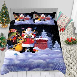 santa bedding sets Australia - Santa Claus Bedding Set King Cartoon Fashionable 3D Duvet Cover Christmas Gifts Queen Single Twin Full Bed Cover with Pillowcase 3pcs
