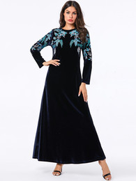 long sleeve maxi dresses Australia - A-Line Long Sleeve Elegant Floral Embroidery Pink Dress Women O-Neck Casual Loose Maxi Velvet Dress Plus Size 2019 Winter