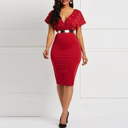 fb76feadf2 Clocolor Summer Dress Sexy V Neck Tunic High Waist Beading Short Sleeve  Ladies Red White Bodycon Plus Size Party Club Midi Dress Y19052901