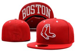 flat brim cap cheap 2019 - Top Quality Cheap Red Sox Full Red color Fitted Caps Baseball Embroidered red character Socks Size Flat Brim Hats Cheap