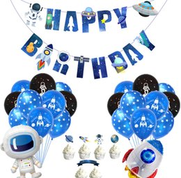 birthday party decoration sets Australia - Space theme birthday set starry sky series birthday banner aluminum film balloon children's birthday party decoration