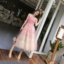 $enCountryForm.capitalKeyWord Australia - Womens wear Summer 2019 Korean version lace dress with superfairy temperament and mediumlength pink tape skirt