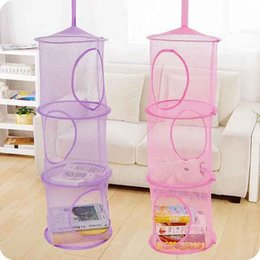 $enCountryForm.capitalKeyWord Australia - DHL SHIP Mesh Toys Organizer Basket Hanging Bags Foldable Nest Bra Cylindrical Cage Bedroom Door Wall Closet Home Hanging Storage Pocket Bag