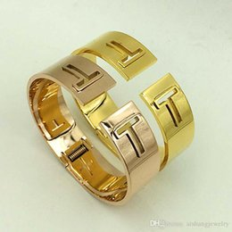 spring ring clasps NZ - PB63 2018 fashion wide version double T spring-ring-clasps hot sell gold plate bangle for gift free shipping
