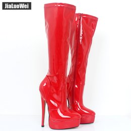 Leather fetish women boots online shopping - jialuowei Women Boots patent leather Sexy Fetish cm High Heels Woman Platform Pointed Toe Zip Knee High Dancing Boots